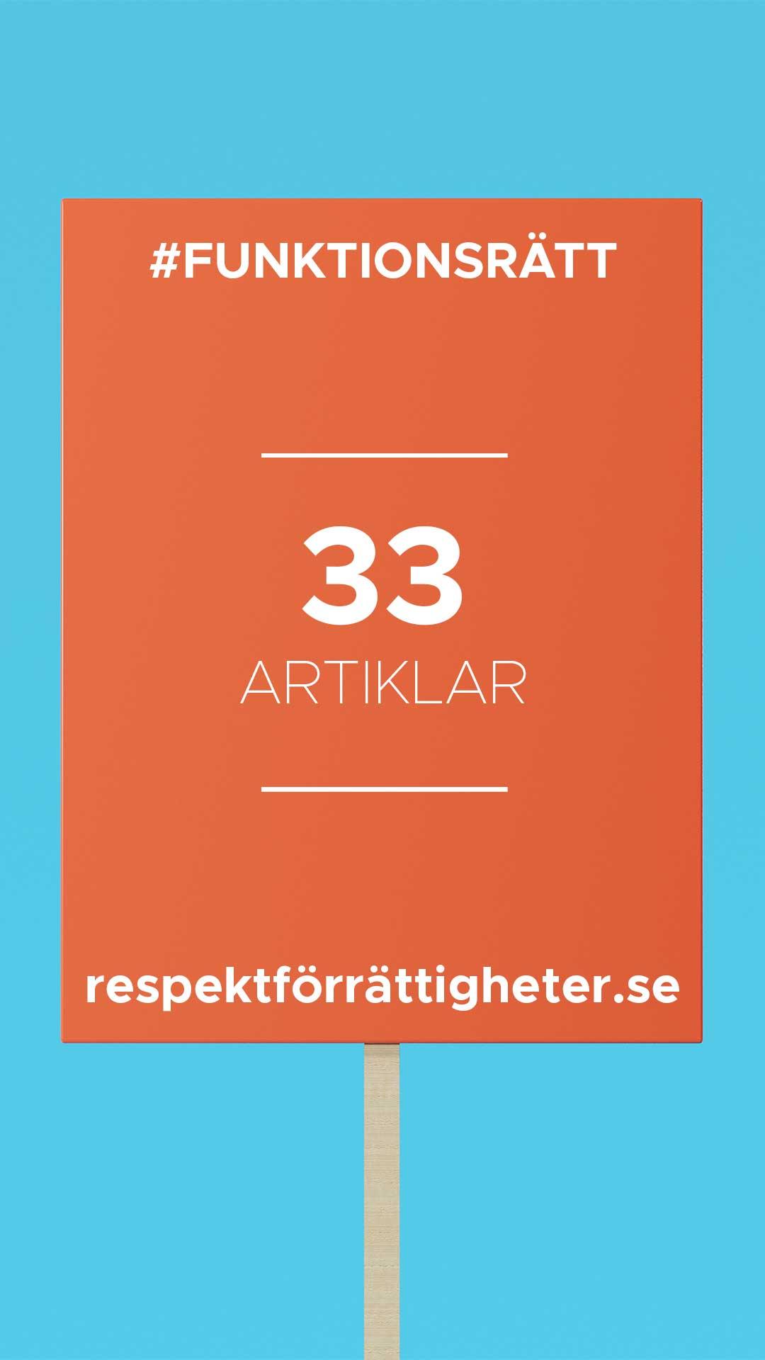 protestplakat med text: funktionsrätt, 33 artiklar, repsektförrättigheter.se