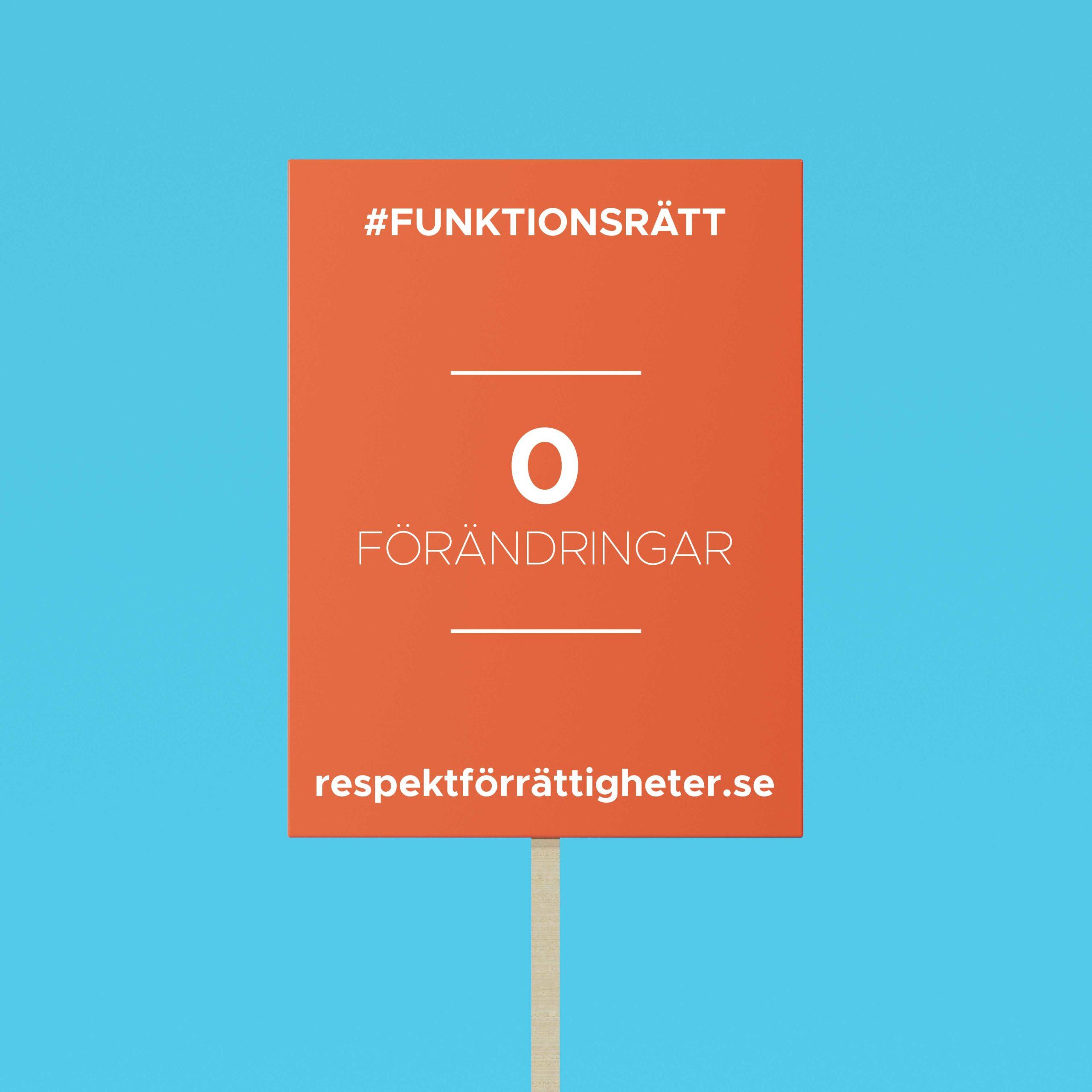 protestplakat med text: funktionsrätt, 0 förändringar, repsektförrättigheter.se