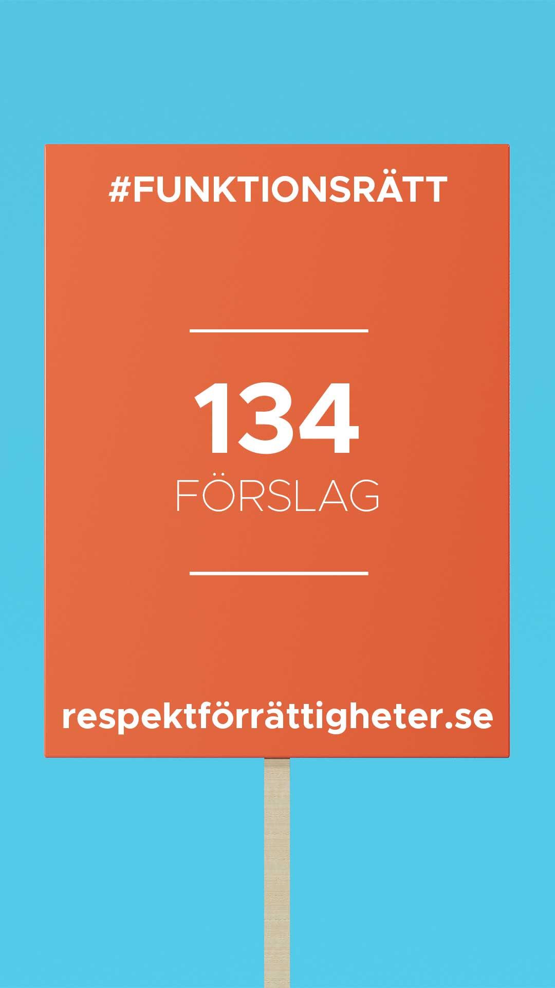 protestplakat med text: funktionsrätt, 134 förslag, repsektförrättigheter.se