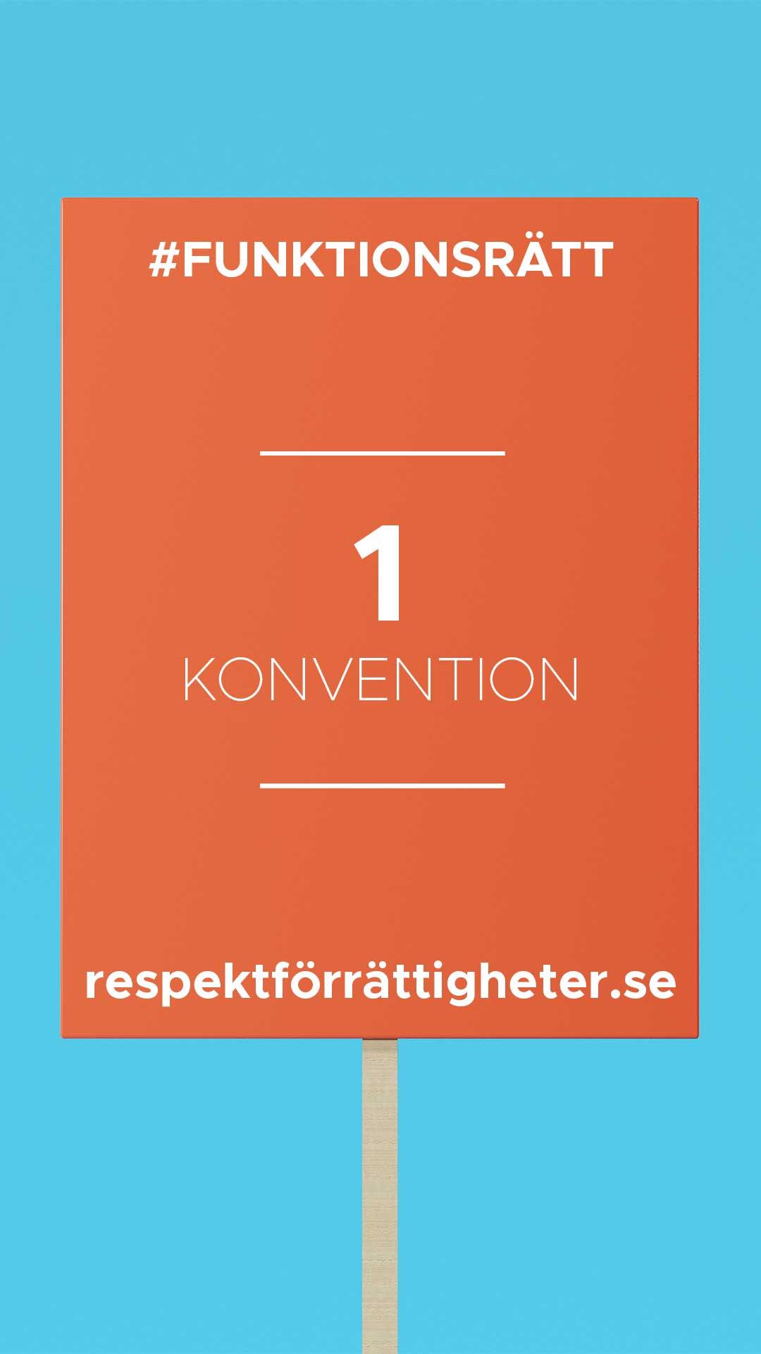 protestplakat med text: funktionsrätt, 1 konvention, repsektförrättigheter.se